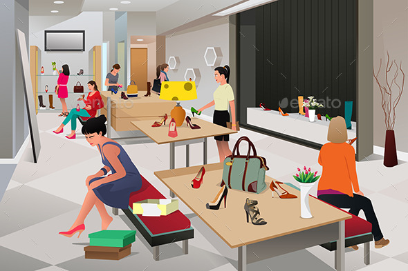Women Shopping for Shoes - Commercial / Shopping Conceptual