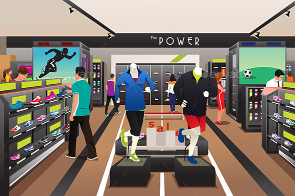 People Shopping for Shoes in a Sporting Store - Commercial / Shopping Conceptual