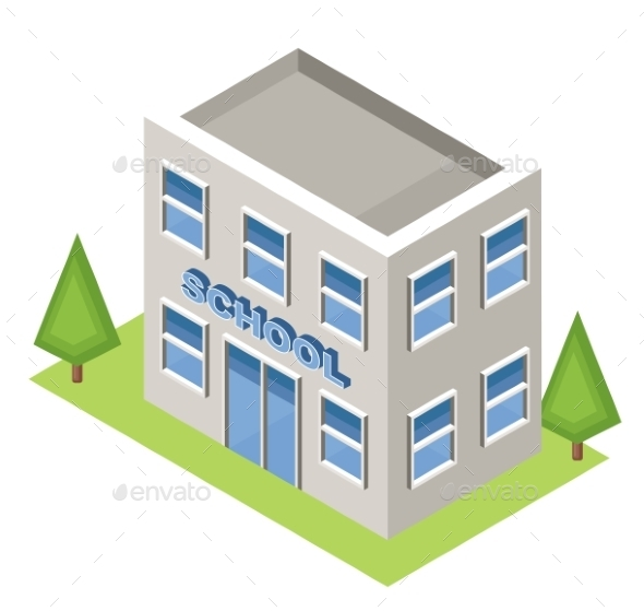 Isometric School On a White Background - Buildings Objects