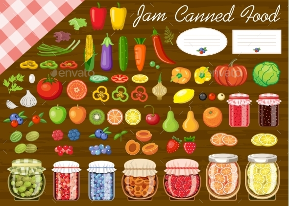 Set Of Fruit And Vegetables  - Food Objects