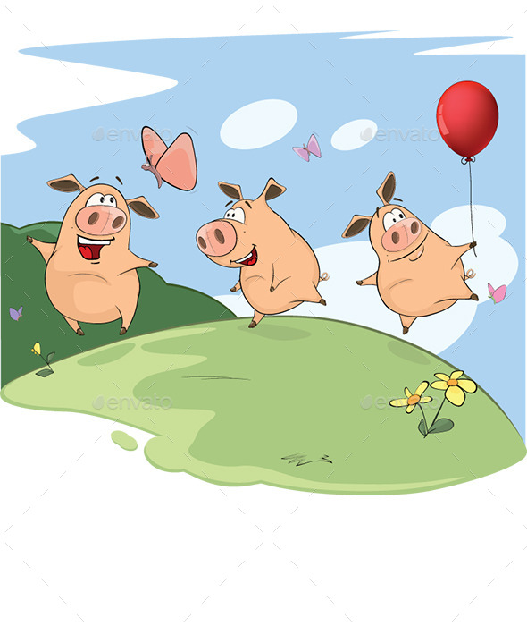 The Three Little Pigs - Animals Characters