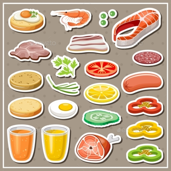 Set Of Grocery Stickers