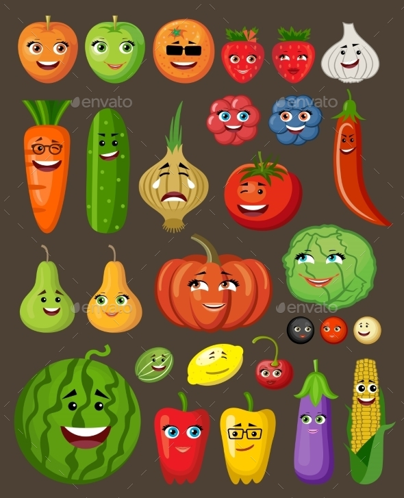 Big Set Of Fruit And Vegetables Characters - Food Objects
