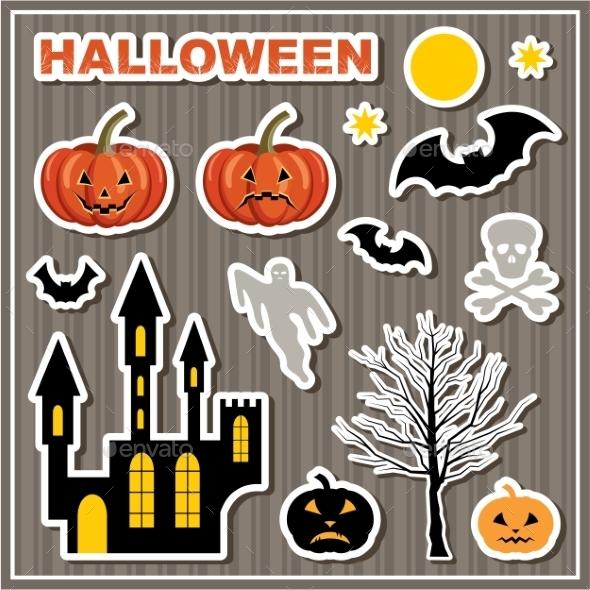 Set Of Stickers Halloween. - Halloween Seasons/Holidays