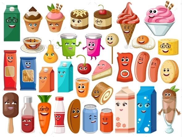 Funny Cartoon Products With Faces - Food Objects