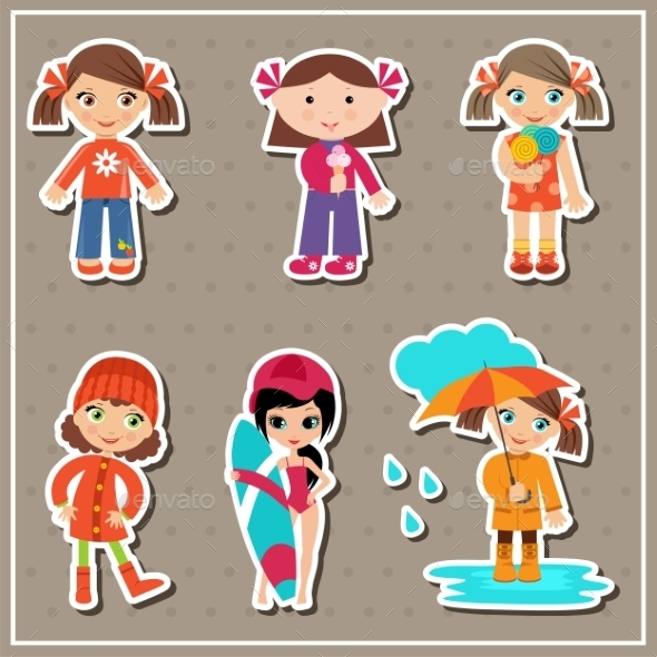 Stickers With Little Girls - People Characters
