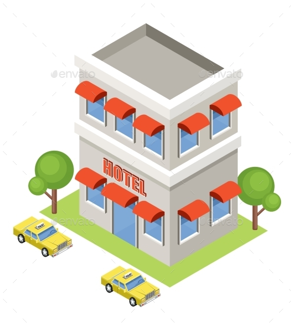 Isometric Hotel On a White Background - Buildings Objects