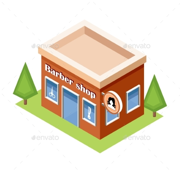 Isometric Barber Shop On a White Background - Buildings Objects