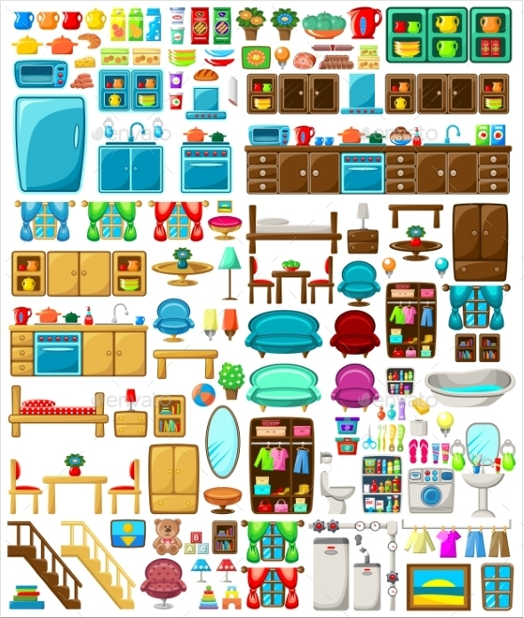 Big Set Of Furniture - Objects Vectors