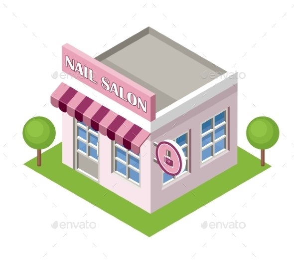 Isometric Nail Salon On The White Background - Buildings Objects