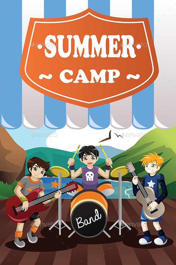 Kids in a Band Summer Camp Flyer - People Characters
