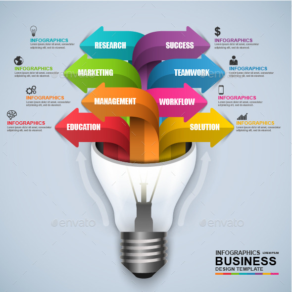 Abstract 3D Business Light Bulb Infographic - Infographics