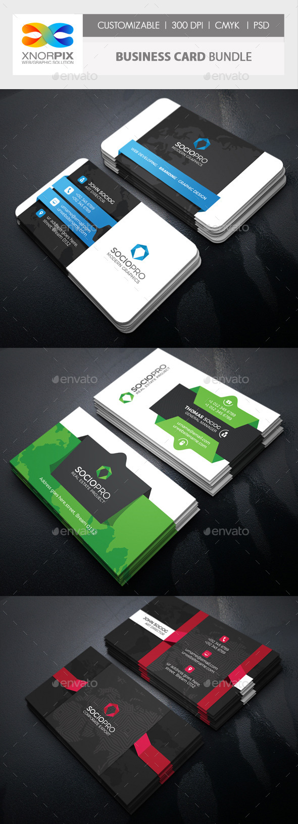 Business Card Bundle 3 in 1-Vol 60 - Corporate Business Cards