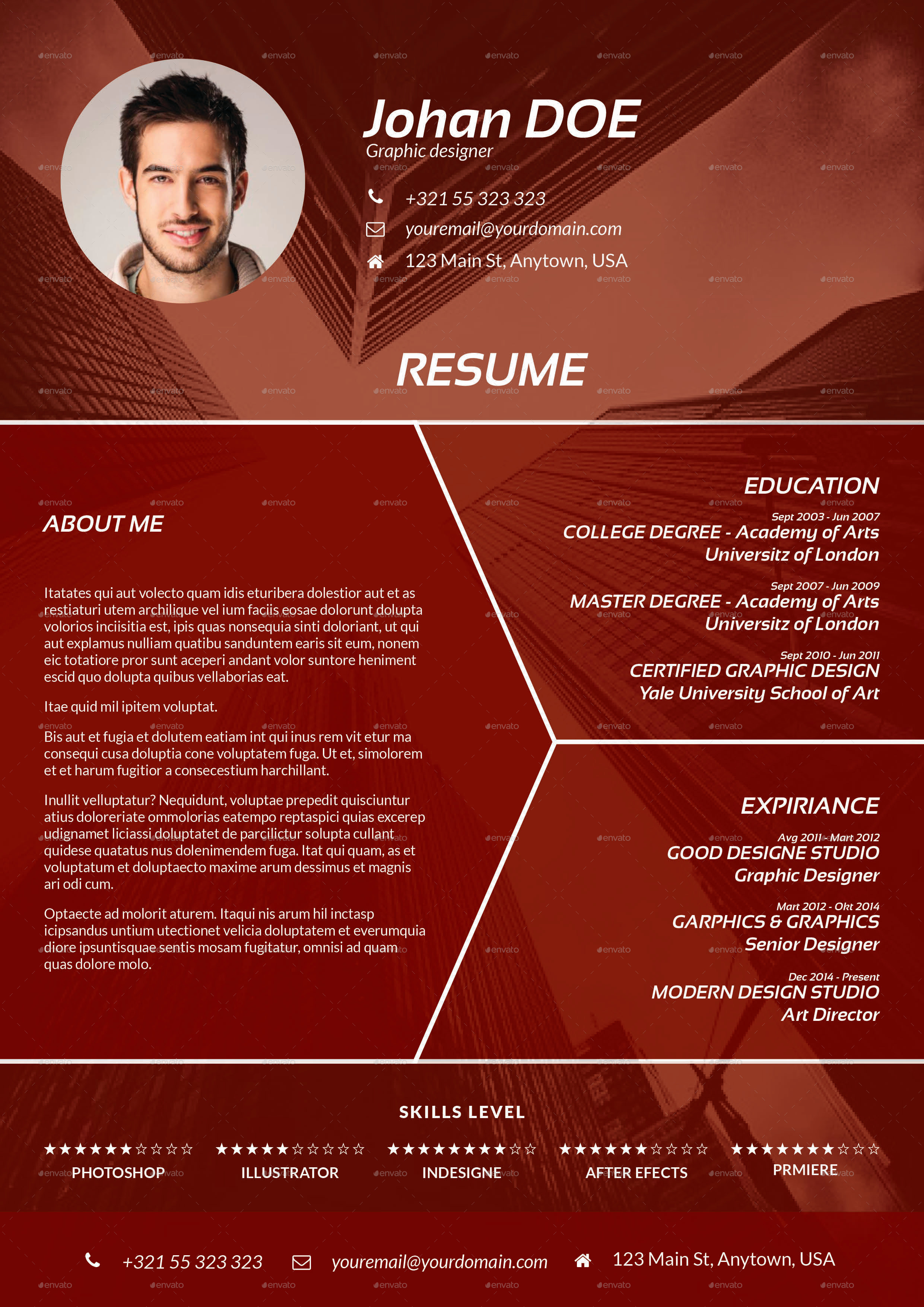 abstract cv resume template by milos83 graphicriver
