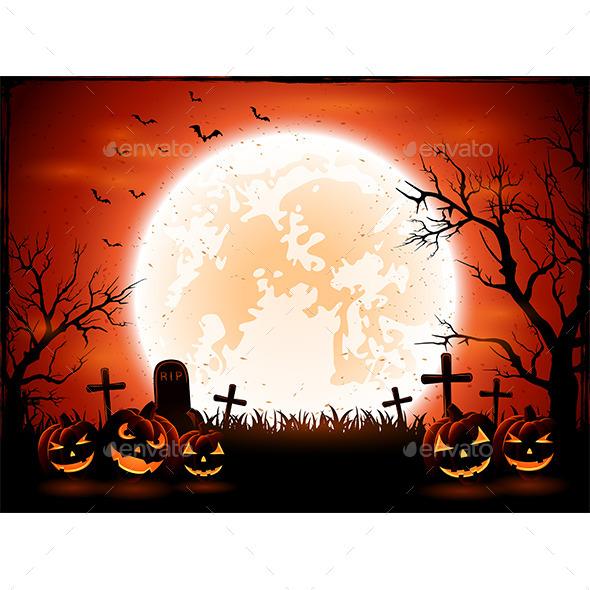 Halloween Pumpkins on Graveyard - Halloween Seasons/Holidays