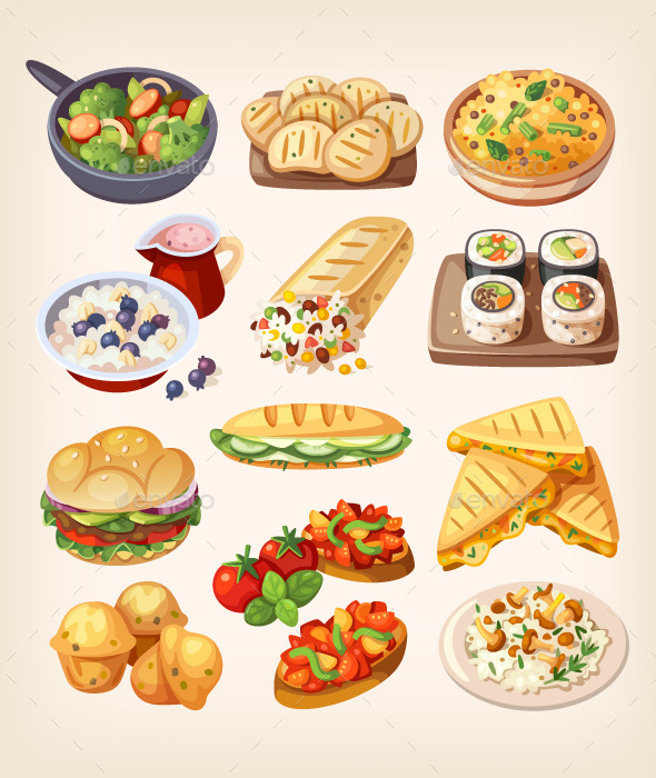 Set of Colorful Vegetarian Food. - Food Objects