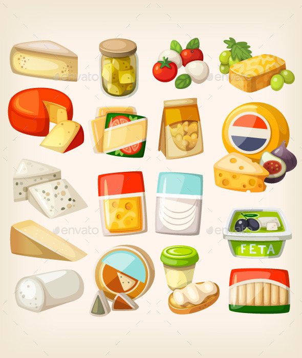Kinds of Cheese - Food Objects