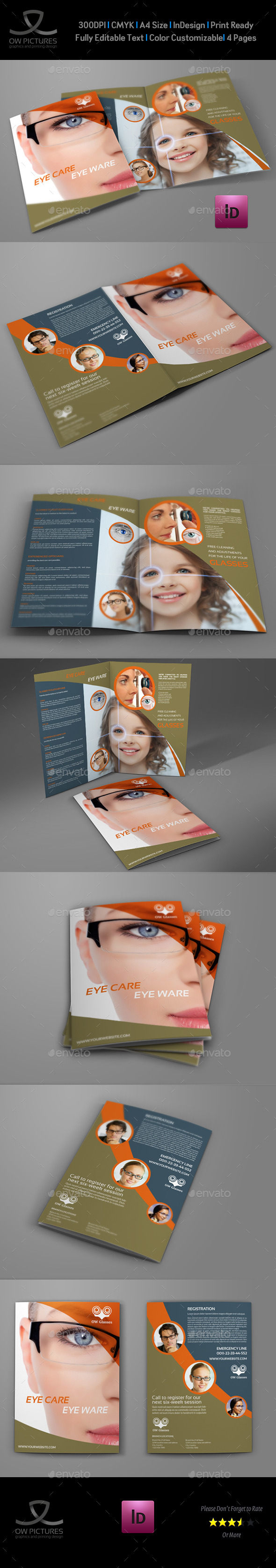Optometrist & Optician Bi-Fold Brochure Template
