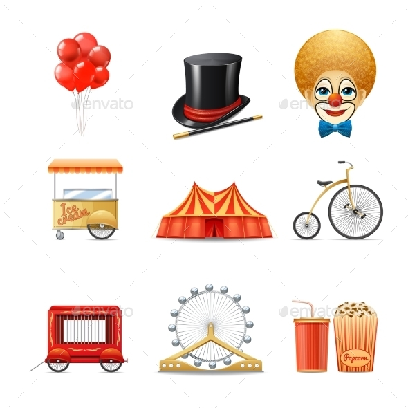 Circus Icons Set - Objects Vectors