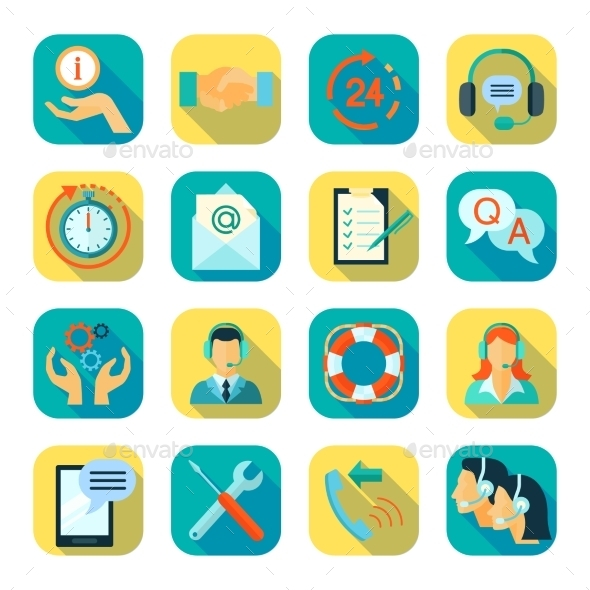 Flat Style Color Icons Set Of Technical Support - Miscellaneous Vectors