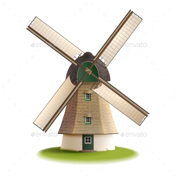 Windmill Painted Color Concept  - Buildings Objects