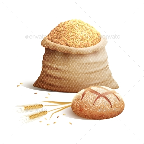 Bread And Grain 3d Concept - Food Objects