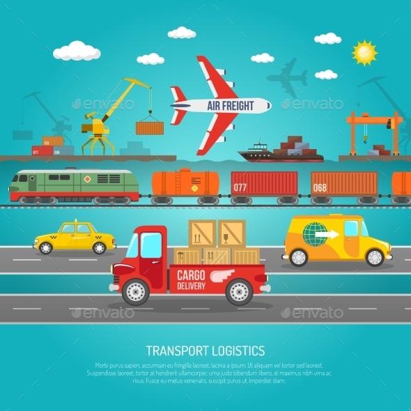 Logistics Transportation Details Flat Poster Print - Concepts Business