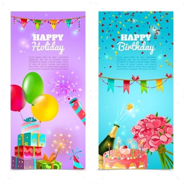 Happy Birthday Holiday Celebrration Banners Set  - Birthdays Seasons/Holidays