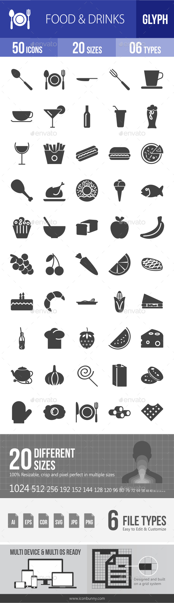 Food & Drinks Glyph Icons