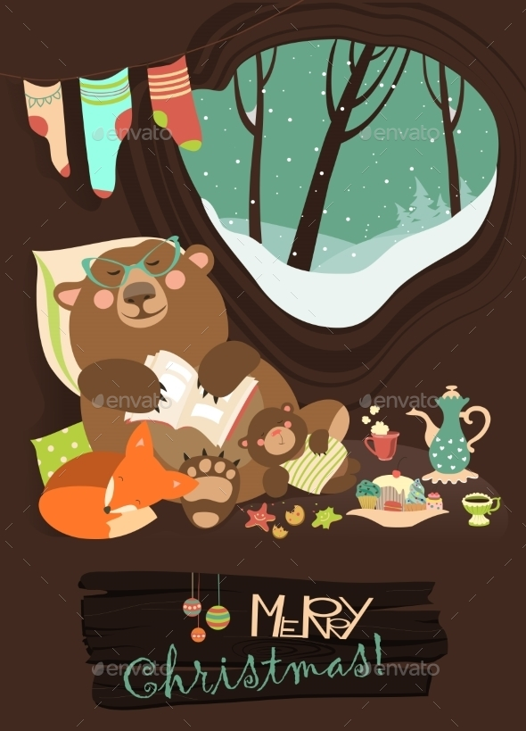 Bear with Cub and Little Fox Sleeping in Cave - Christmas Seasons/Holidays
