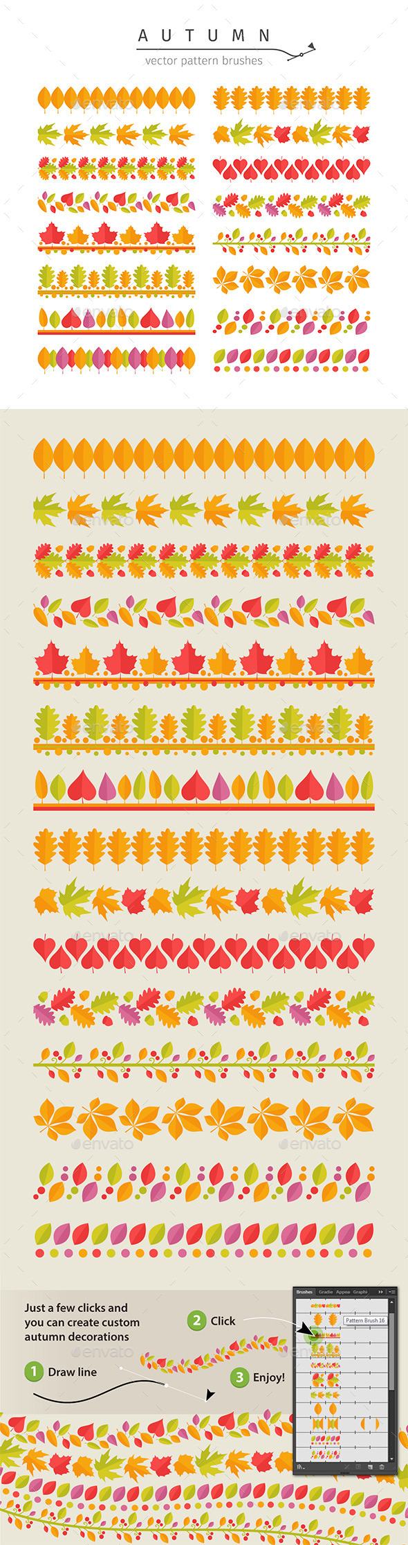 Autumn Leaves Pattern Brushes Set - Flowers & Plants Nature