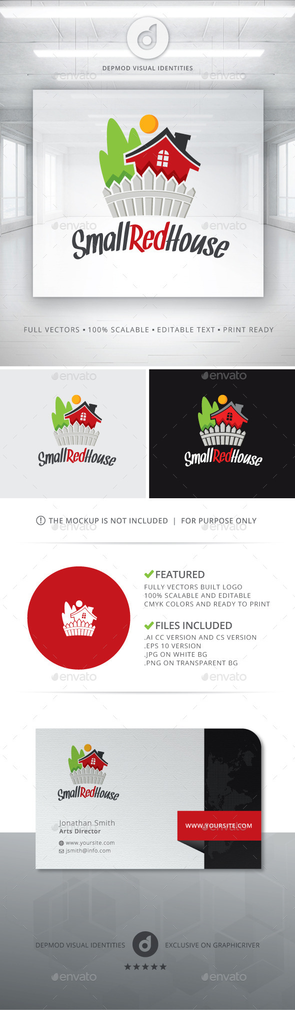 Small Red House Logo - Buildings Logo Templates