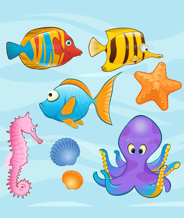 Set of Sea Animals on Blue Background - Animals Characters