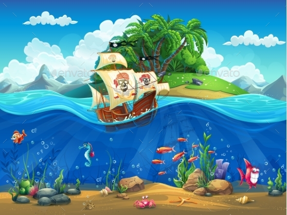 Cartoon Underwater World with Fish Plants and Island - Landscapes Nature