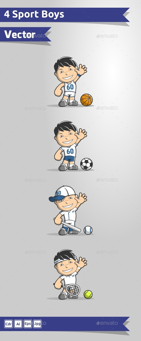 4 Sport Boys Vector - People Characters