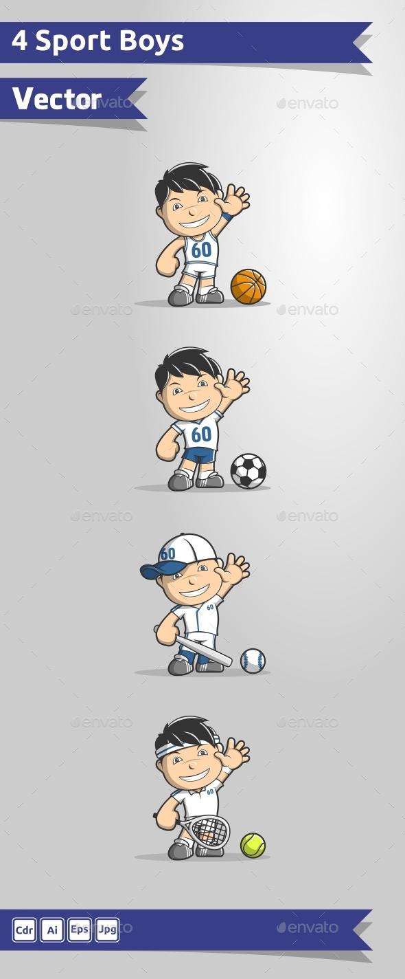 4 Sport Boys Vector