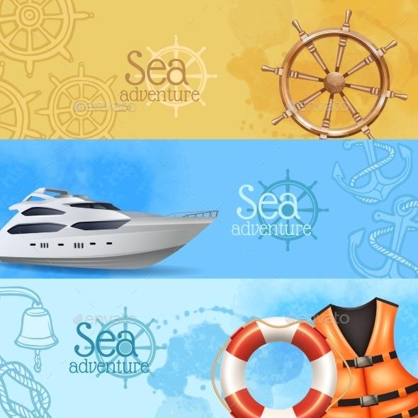 Sea Adventure Banners Set - Travel Conceptual
