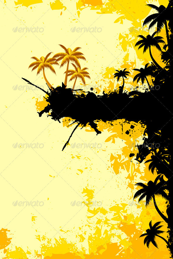 Grunge Tropical Landscape - Backgrounds Decorative
