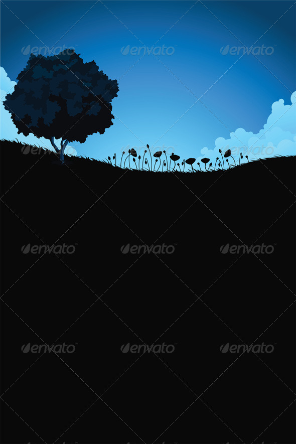 Vertical Nature Landscape with Tree and Flowers - Landscapes Nature