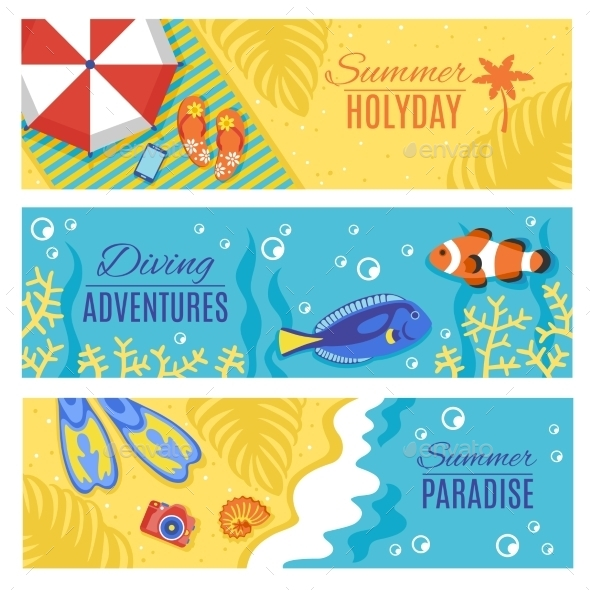 Summer Holiday Vacation Horizontal Banners Set - Seasons Nature