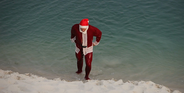Santa Getting Out of Water