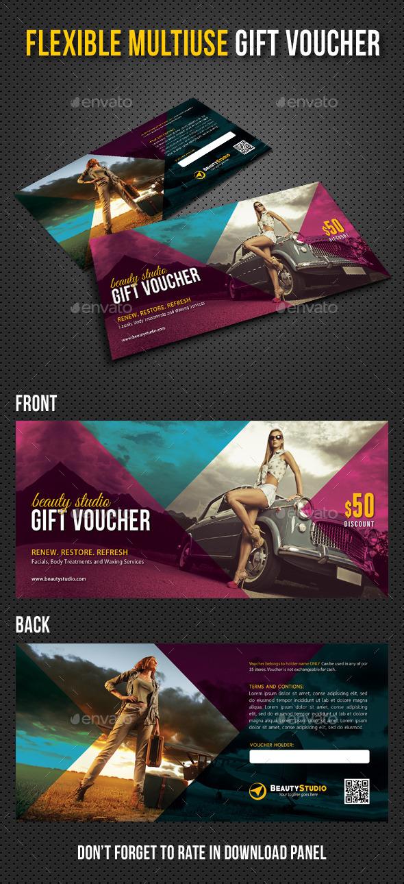Flexible Multiuse Gift Voucher V04 - Cards & Invites Print Templates