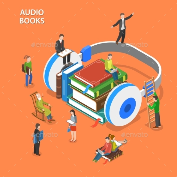 Audio Books Isometric Flat Vector Concept - Media Technology