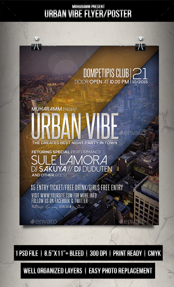 Urban Vibe Flyer / Poster - Clubs & Parties Events