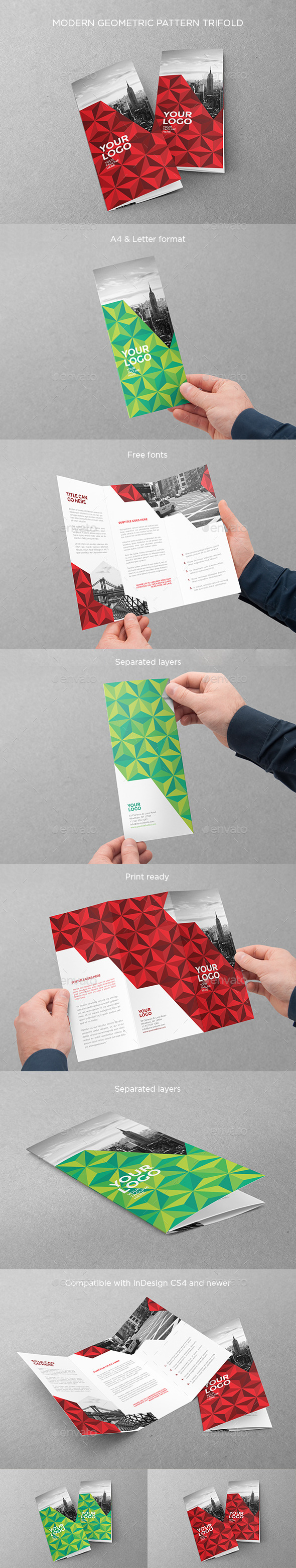 Modern Geometric Pattern Trifold - Brochures Print Templates