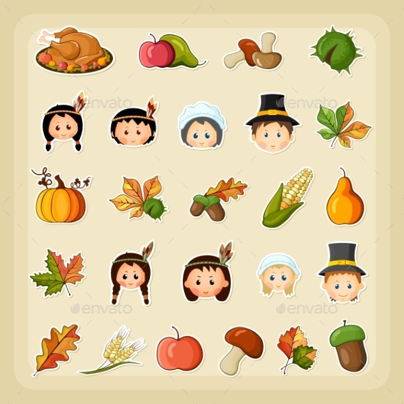 Thanksgiving Harvest Icon Set - Miscellaneous Seasons/Holidays