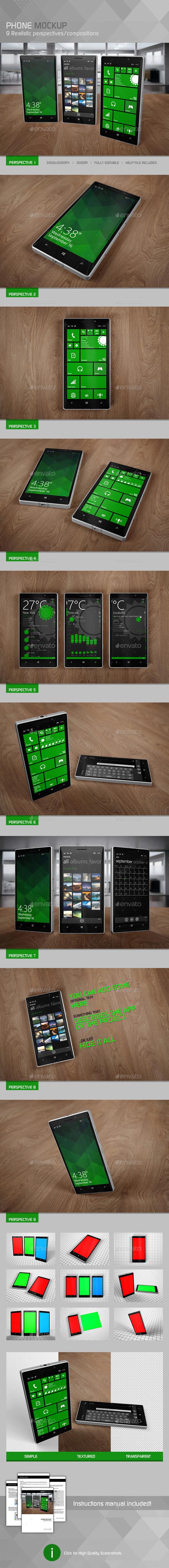 Realistic Phone Mockup 2 - Mobile Displays