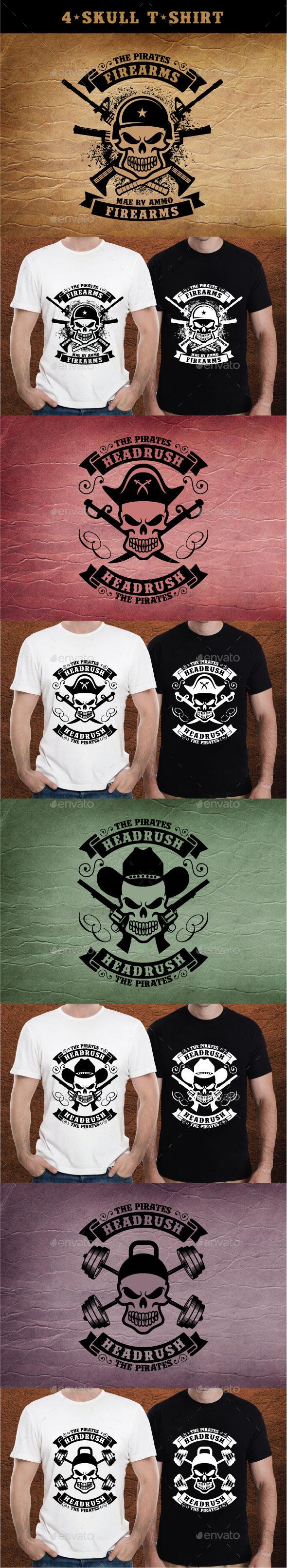 4-Skull T-Shirt - Grunge Designs