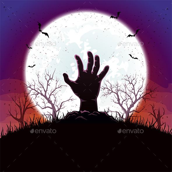 Halloween Background with Hand and Moon - Halloween Seasons/Holidays