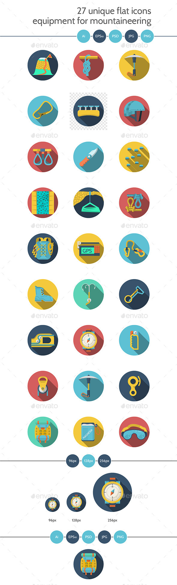 Flat Icons for Climbing Equipment - Icons